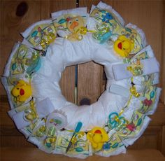 Baby Shower Duck Diaper Wreath - Baby and More From Family of 4 Baby Shower Duck, Baby Shower Cakes, Baby Shower Gifts, Baby Gifts, Baby Showers, Baby Nail File, Baby Nails, Diaper Cake Boy, Diaper Cakes