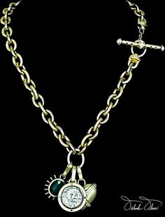 Cat cameo and charm enhancers on diamond toggle necklace (shown with toggle on the side)  #OrlandaOlsen  #FineJewelry
