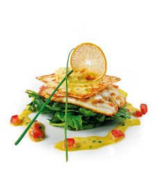 John Dory fillet perfectly seasoned with baby spinach, curry & coriander emulsion