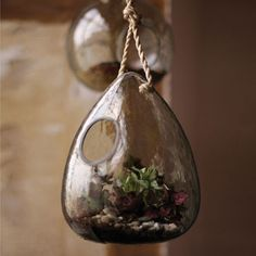 Recycled Glass Teardrop Terrarium $49