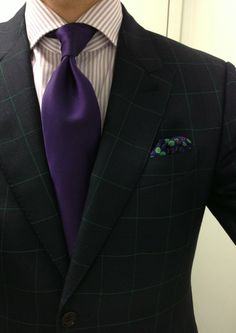Green plaid. And purple tie... Style my friend