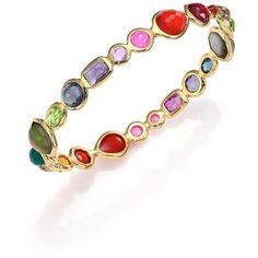 IPPOLITA Rock Candy Fall Rainbow Semi-Precious     Multi-Stone & 18K Yellow Gold Bangle Bracelet  $4,500