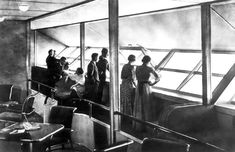 Interior of the lounge aboard the Hindenburg, where passenger windows could be opened.