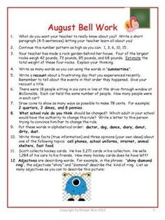 Daily Bell Ringers for 5th Grade - US Version:  Prompts for each day of the school year.  Answer keys provided. $