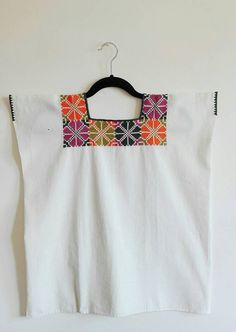 Mexican cotton blouse/ mexican huipil/ mexican embroidered blouse