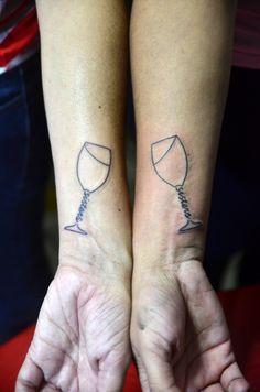 glass of wine tattoo friendship