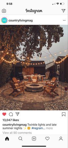 Backyard Patio Designs, Backyard Landscaping, Backyard Ideas, Farmhouse Homes, Modern Farmhouse, Farmhouse Ideas, What Activities, Cozy Place, Twinkle Lights