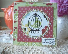 """Pattern paper by Three Bugs in a RugLLC called """"Spread your wings"""".  Papertrey Ink sentiment.  Fussy cut the  bird in the cage using my Spellbinder circle die cuts. Edged papers using a gold left pen by Krylon."""