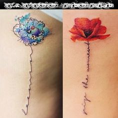 Delicate watercolor flowers and script by @gnotattoo