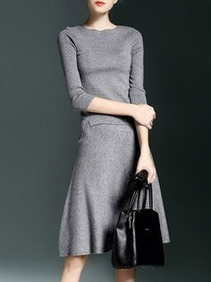 Knitted Wool blend Two Piece Midi Dress - Cute if I had an office to wear it to...