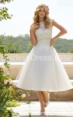 Classic Femme Sleeveless Tea Length Wedding Dress with Removable Lace Jacket