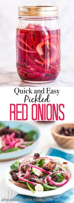 These quick and easy pickled red onions are going to change your life. They are incredibly versatile and add amazing acidity to otherwise simple dishes. I put them on everything from tacos to scrambled eggs to salads and sandwiches. | aheadofthyme.com
