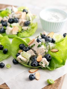 Whether chicken salad is your go-to cheat day snack or you only eat it at potlucks, this Blueberry Almond Chicken Salad Lettuce Wrap recipe is only 260 calories and oh so craveable.