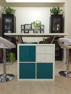Kallax shelf and table top from Ikea used to make this kitchen island