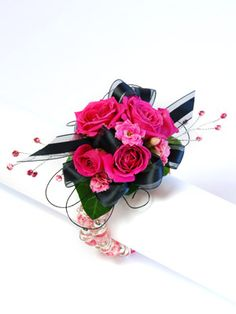 hot pink and black corsage Prom Corsage And Boutonniere, Wrist Corsage, Boutonnieres, Prom Flowers, Bridal Flowers, Black Corsage, Mother Of Bride Corsage, Flower Decorations, Wedding Decorations