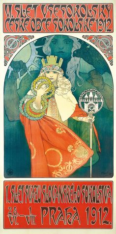 mucha | Alphonse Mucha (Czech, 1860-1939). 6th Sokol Festival, 1912. Color ...
