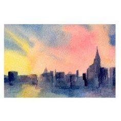 New York Skyline Sunset Canvas Art by...