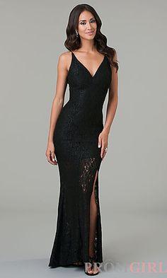 Floor Length Spaghetti Strap Lace Dress at PromGirl.com