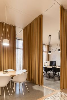 Gallery of PURE / Sílvia Rocio + Mariana Póvoa + esse studio - 23 Curtain Partition, Room Divider Curtain, Bamboo Room Divider, Diy Room Divider, Divider Ideas, Grey Interior Doors, Interior Design Curtains, Office Curtains, Space Dividers