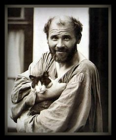 True relaxation, which would do me the world of good, does not exist for me. Gustav Klimt  ~ Gustav Klimt and his cat.