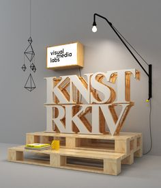 (A través de CASA REINAL) >>>> Konstruktiv by Jean-Michel Verbeeck, via Behance --cool little type sculpture thing, could be a nice entrance piece / centerpiece somewhere Design 3d, Stand Design, Display Design, Booth Design, Event Design, Graphic Design, Signage Display, Signage Design, Lettering Design