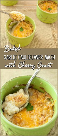 Baked Garlic Cauliflower Mash with Cheese Crust - Super tasty, Low carb, gluten free, primal and healthy (Baking Potato Cauliflowers) Low Carb Recipes, Real Food Recipes, Vegetarian Recipes, Cooking Recipes, Healthy Recipes, Healthy Baking, Low Carb Side Dishes, Side Dish Recipes, Vegetable Recipes