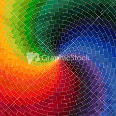 Spectrum Wheel Made Of Bricks. Rainbow Color Spectrum Grunge Background. Square…