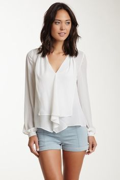 Ruffle V-Neck Blouse by Rieley