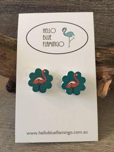 Earrings - Flamingo Blue Sparkles, Flamingo, Place Cards, Place Card Holders, Birds, Earrings, Bird, Ear Piercings, Pierced Earrings