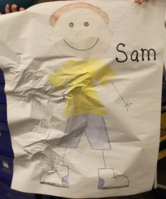 Meet Sam, one by one students crumple the paper and say something mean to him, at the end- they should try to get the wrinkles out again- good example of how bullying leaves something behind #bully #teambuilding