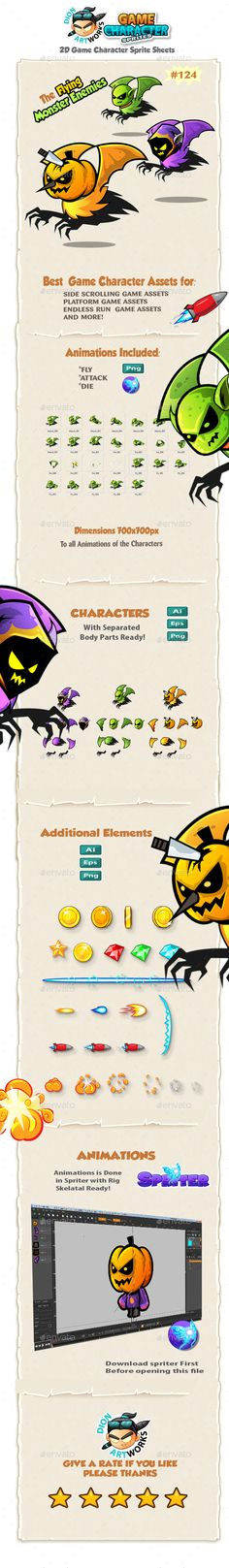 1db15ff4e6f86 Flying Monsters 2D Game Character Sprites 124 — Vector EPS  skull  witch •  Available