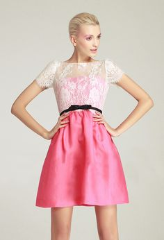Rose Red Contrast Lace Short Sleeve Belt Dress