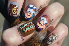 Gravity falls nails! Just for you. Mani from Coewless nail polish blog.