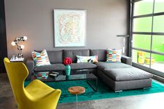 Fab!! I will def have the glass garage door!!! Love the bright color accents with the industrial feel!!