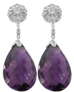 Match a ring I have. Lovely! Edwardian Style 34.23ct Amethyst 14k White Gold Diamond Earrings   New York Estate Jewelry   Israel Rose