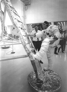 Astronaut Neil Armstrong training with the lunar module in 1969.