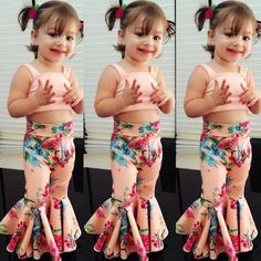 US Kids Baby Girls Floral Bandage Tops Bell-bottoms Pants Outfit Clothes Summer Baby Girl Dresses baby Bandage Bellbottoms clothes Floral Girls kids outfit Pants Summer Tops Kids Dress Wear, Kids Gown, Little Girl Dresses, Kids Wear, Baby Dresses, Dresses Dresses, Trendy Dresses, Girls Dresses, Baby Girl Fashion