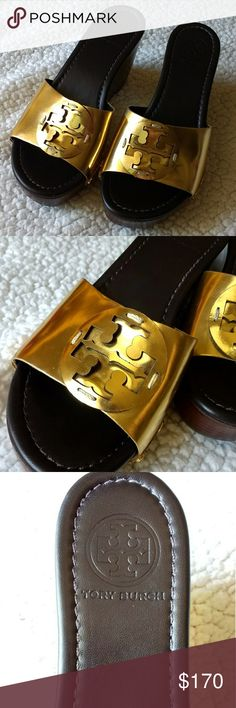 Like new Tory Burch Patti wedge sandals size 7.5 Item Wedge sandals Brand Authentic Tory Burch Size 7.5 Color dark brown with gold Condition Worn once indoors. No signs of wear on the insole, great looking outsole as well. The gold has few tiny scratches - not visible when worn. Please see the pics. Like new. Fantastic look and comfortable. Tory Burch Shoes Wedges