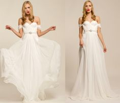 Annie  Wedding Gown Silk Hand Gathered Bustier Gown in White with Crystal Sash