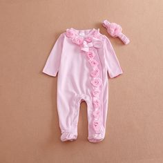 2018 Newborn Baby Girl Clothes 3d Floral Long Sleeve Foot Cover Baby  Onesies Cotton Pink Jumpsuit Infant Girl Clothes With Headband Butterfly  Bow From ... 2ff75a0a9