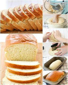 White Bread recipe made with six ingredients & detailed instructions showing how to make bread! Done in just over an hour this is the easiest yeast bread. Easy White Bread Recipe, Homemade White Bread, Best Bread Recipe, Easy Bread, Homemade Donuts, How To Make Bread, Food To Make, Baking Recipes, Dessert Recipes