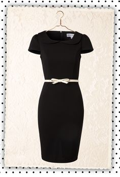 Paper Dolls - 50s Black Pencil Dress with Bow Belt