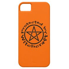 Protected by Witchcraft Orange with Black Pentacle Pagan Wiccan Case by www.cheekywitch.com #zazzle #wicca #wiccan #pagan #witch #iphone #phonecase #iphonecase