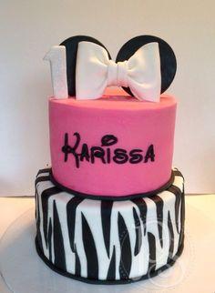 Pink Zebra Minnie Mouse Cake Minnie mouse