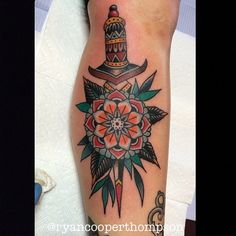 Flower/dagger combo done by @ryancooperthompson check him out! #tattoo ...