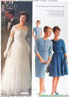 1960s Fashion, Vintage Fashion, Christmas Catalogs, Bridal Gowns, Fall Winter, Bride, Formal Dresses, Holiday, Model