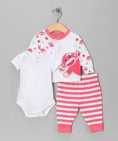 Take a look at this Pink Sock Monkey Bodysuit Set  by Baby Starters on #zulily today!