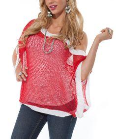 Red & White Sheer Fringe Cape-Sleeve Top