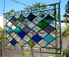 Large Diamonds Stained Glass Window