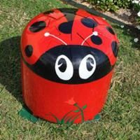 Playground equipment that is musical - love it!  This ladybug is reminiscent of a convex steel drum, and it's great fun to play!